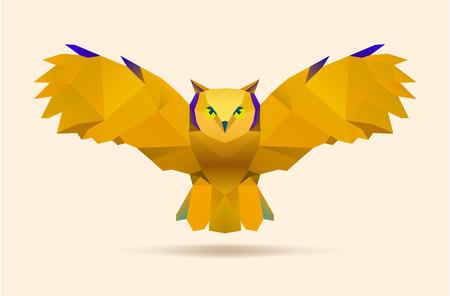 polygonal illustration of flying owl vector