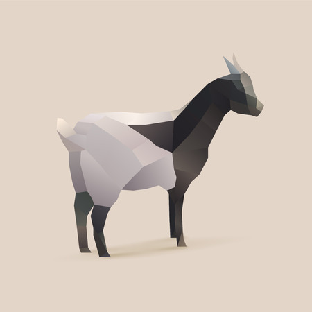 polygonal illustration of goat 矢量图像