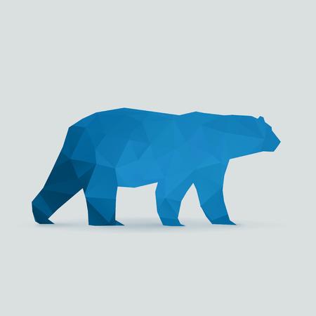 polar bear polygon blue silhouette vector illustration Vettoriali