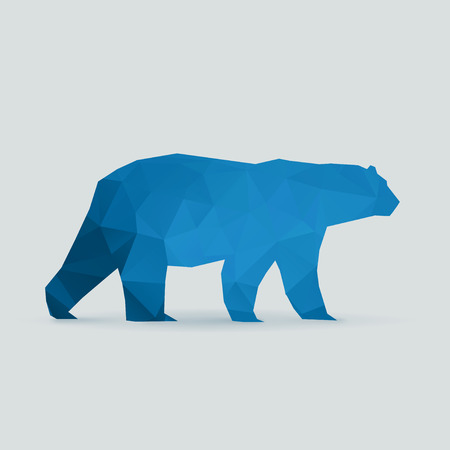 polar bear polygon blue silhouette vector illustration Иллюстрация