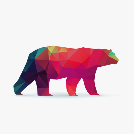 polar bear polygon crazy color silhouette 矢量图像