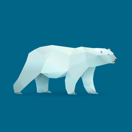 polygonal illustration of polar bear