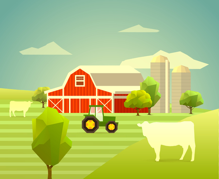 silos: farm with cows trees and tractor. polygon illustration Illustration