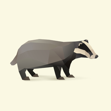 polygonal illustration of badger isolated with shadow