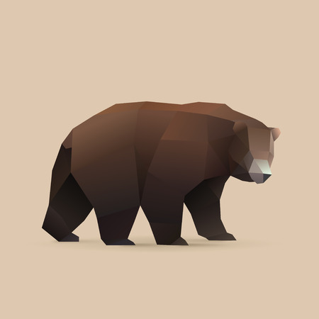 polygonal illustration of bear isolated with shadow 矢量图像