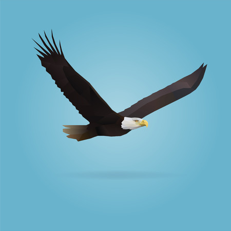 polygonal illustration of flying eagle isolated with shadow