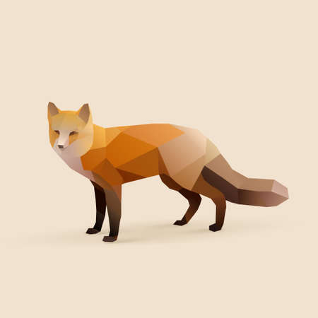 fox polygonal illustration isolated with shadow