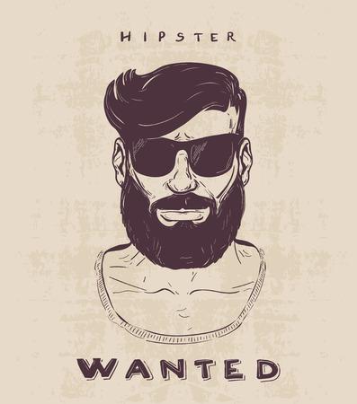 ひげ mustage とサングラスで流行に敏感。手描きイラスト