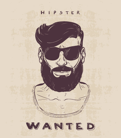 hipster with beard mustage and sunglasses. hand drawn illustration 矢量图像