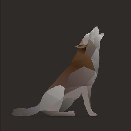 lobo: lobo canta aullidos. ilustraci�n pol�gono aislado