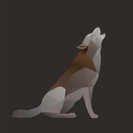 wolves: wolf sings howls. polygon illustration isolated