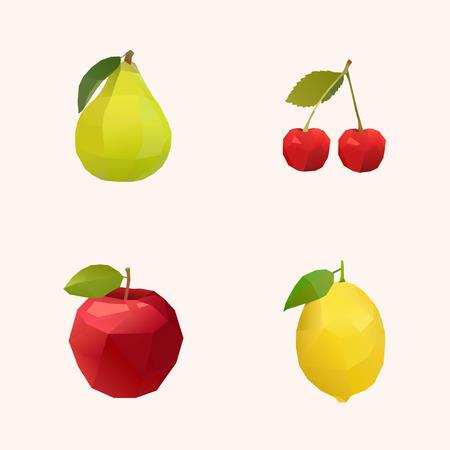 pico: manzana cereza pico y lim�n pol�gono ilustraci�n Vectores