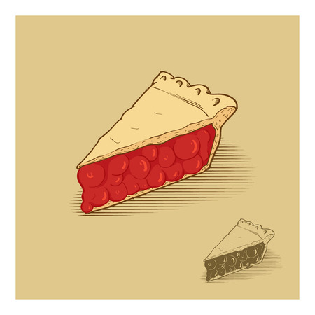 tarte aux cerises: american main de tarte aux cerises Illustration tir�e