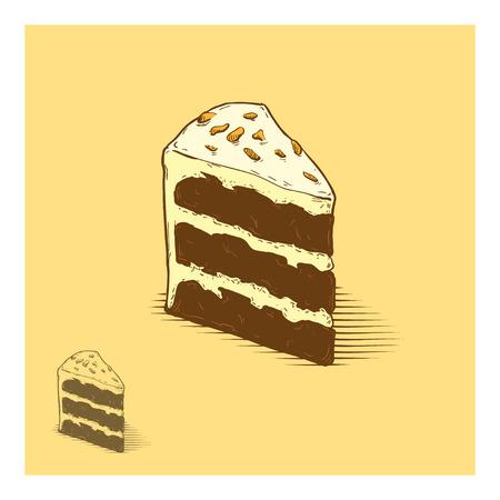 rebanada de pastel: Pastel de chocolate con ilustración dibujados a mano las tuercas Vectores