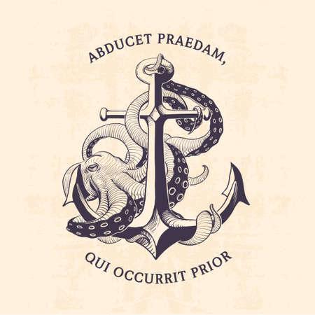 marinero: ancla con la ilustración de pulpo dibujado a mano Vectores