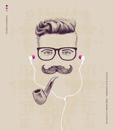 zeichnen: Hipster mit Pfeife und Ohrhörer Illustration