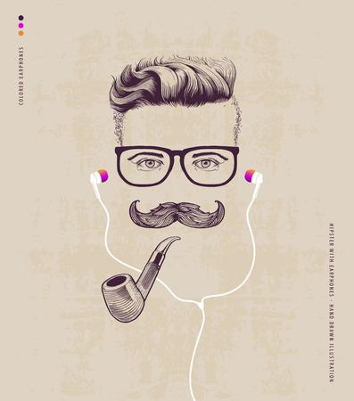 white beard: hipster with smoking pipe and earphones Illustration