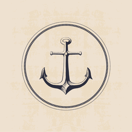 anchor logo in circle hand drawn illustration 矢量图像