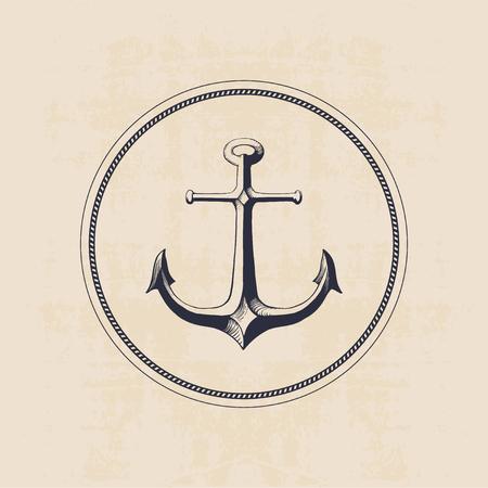 ancre marine: logo ancre dans le cercle dessiné à la main illustration Illustration