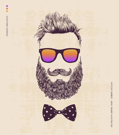 수염 콧수염과 선글라스 힙 스터. 손으로 그린 그림 스톡 콘텐츠 - 41245816