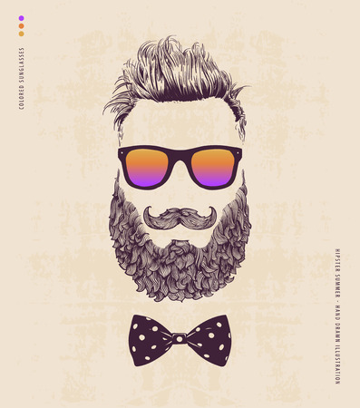 jazzbow: Hipster with beard mustache and sunglasses. hand drawn illustration