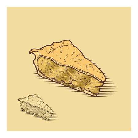 pastel de manzana: ilustraci�n dibujados a mano americana tarta de manzana