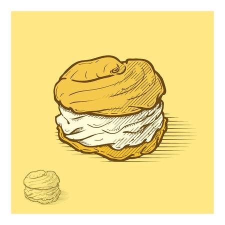 puff pastry: Cream puffs hand drawn illustration Illustration