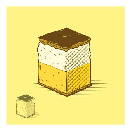 cream on cake: Ilustraci�n dibujados pastel de crema de manos