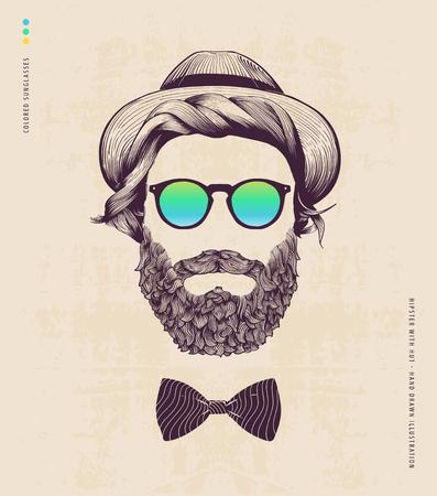 Hippie avec le chapeau et le jazz arc Banque d'images - 41246153