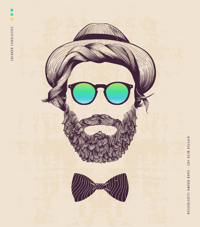 hipster with hat and jazz bow