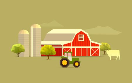 silo: simple farm landscape with cow, tractor and silo