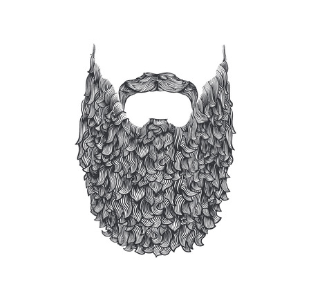 man illustration: long beard