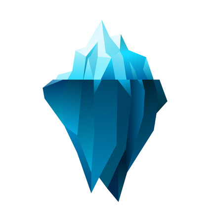 low poly: iceberg on white background