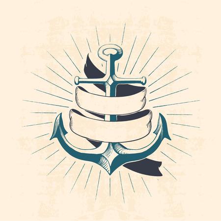 anchor drawing: anchor with ribbon
