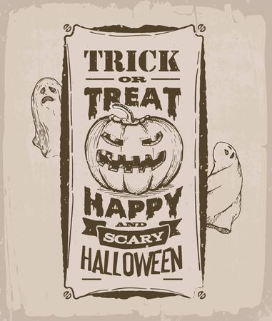 halloween banner, vintage poster, retro