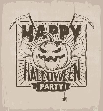 guada�a: fiesta de halloween, bandera con calabaza, fantasmas y guada�a