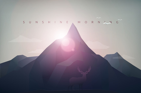mountain polygon landscape, sunshine, sunset