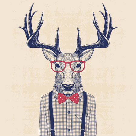 illustration of deer dressed up like nerd in shirt and jazz bow