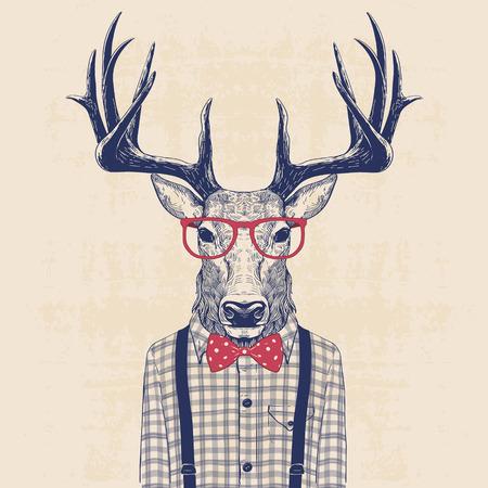 Illustration von Hirschen gekleidet wie Nerd in T-Shirt und Jazz-Bogen Standard-Bild - 56716258
