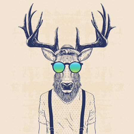 illustration of deer dressed up like cool hipster Çizim