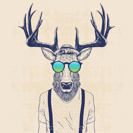 venado: ilustración de ciervos vestido como inconformista fresco