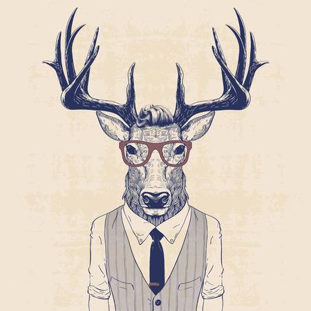鹿のイラストがベストとネクタイのビジネスマン達のような格好  イラスト・ベクター素材