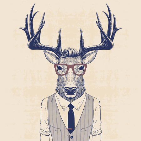 Ilustracja jeleni przebrany jak człowiek biznesu w kamizelkę i krawat Ilustracje wektorowe
