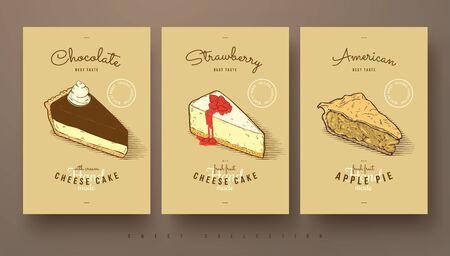 お菓子、チーズケーキ、アップルパイのコレクション