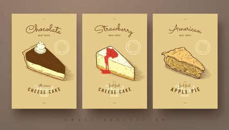 apple pie: collection of sweets, cheese cakes and apple pie