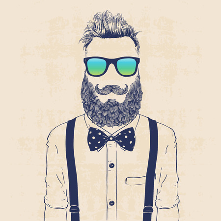 beard man: fashion character illustration, gentleman hipster with sun glasses, jazzbow and galluses
