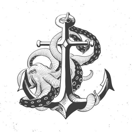 tentacles: anchor with octopus on white, hand drawn vintage illustration