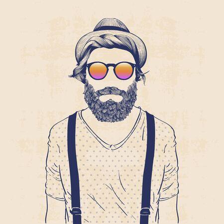 illustrazione personaggio di moda, pantaloni a vita bassa fredda con il cappello, occhiali da sole e galluses