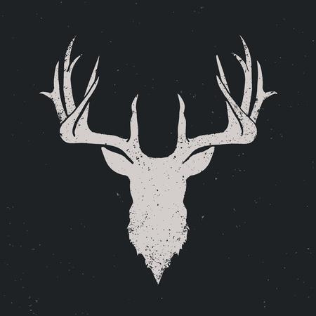 Deer head invert silhouette, vintage illustration