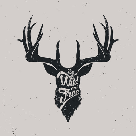 free illustration: Deer be wild and free,  lettering vintage illustration Illustration